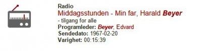 Middagsstunden - Min far, Harald Beyer.....